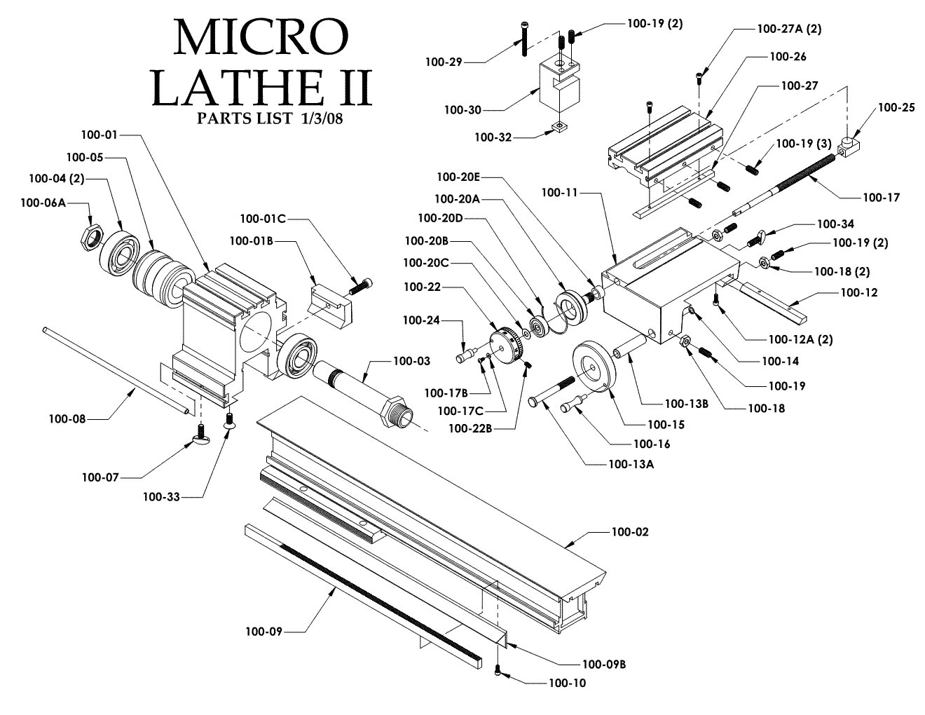 Taig Micro Lathe II Parts List